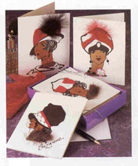 Picture of Black Art Deco Ladies Style Cards